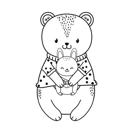 cute bear and rabbit woodland character vector illustration design