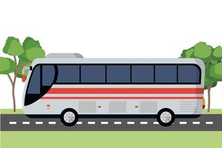 transportation concept bus at street between nature cartoon vector illustration graphic design Illustration