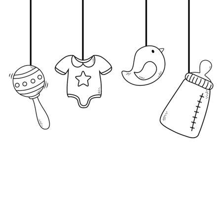 cute baby shower elements cartoon vector illustration graphic design Çizim