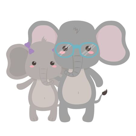 Couple of elephants design vector illustration  イラスト・ベクター素材