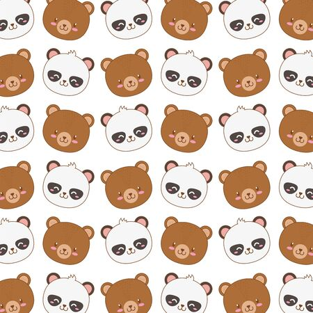 cute woodland animals characters pattern vector illustration design Illusztráció