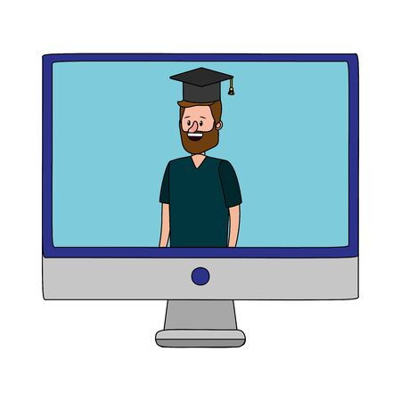 online education man over computer screen cartoon vector illustration graphic design