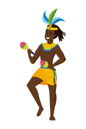 afro man with feather headdress celebrating with maracas brazil carnival vector illustration graphic design