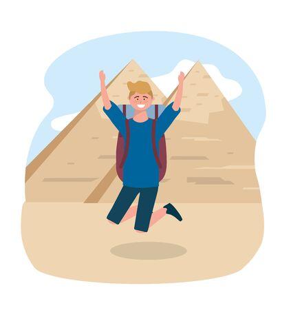 travel man jumping and egyptian pyramid destination vector illustration 写真素材 - 129855397