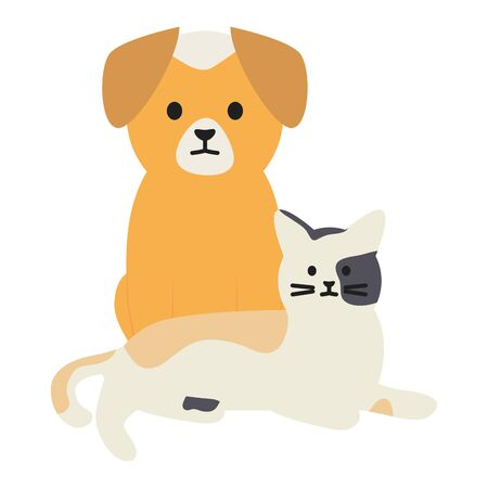 cute cat and dog mascots adorables characters vector illustration design Ilustracja