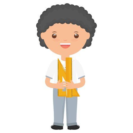cute little student boy with rule supply vector illustration design Иллюстрация