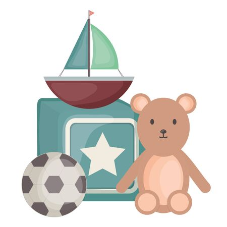 sailboat toy with block and toys vector illustration design
