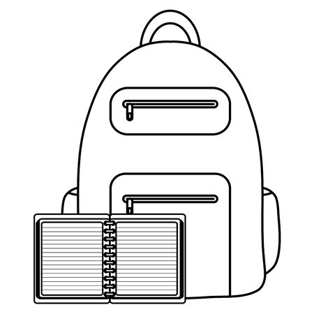 text book school with schoolbag Stock Illustratie