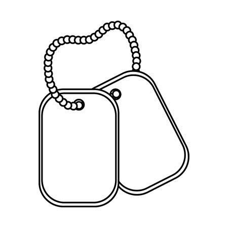 dog tag plate icon cartoon black and white vector illustration graphic design