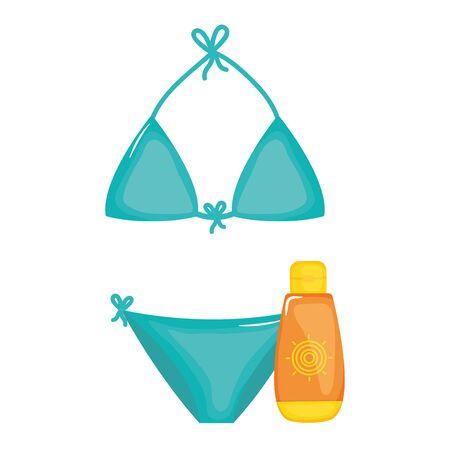 sunblock with swimsuit female 向量圖像