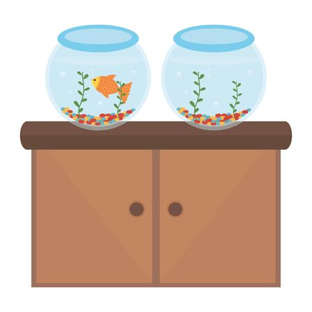 pet shop wooden drawer with aquariums and products vector illustration design Иллюстрация