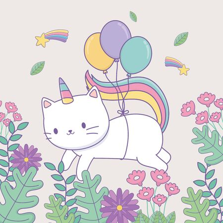 cute caticorn with floral decoration and balloons helium vector illustration design