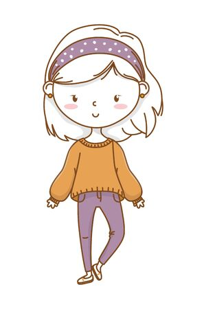 Cute girl cartoon stylish hairstyle nice outfit clothes blushing sweater pants isolated vector illustration graphic design
