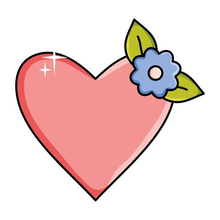 heart love with flower decoration pop art style