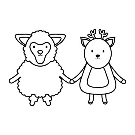 cute sheep and reindeer childish vector illustration design