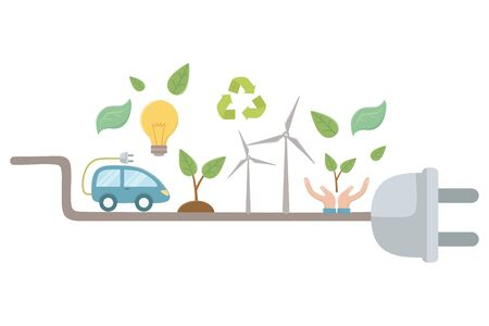 Plug and icon set design, Eco city save planet think green and recycle theme Vector illustration Ilustracja