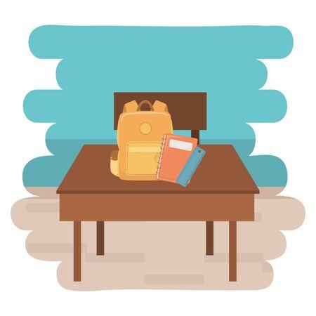Desk and school supplies design