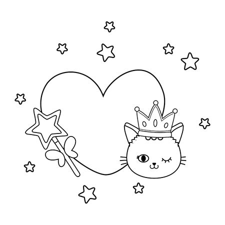 cat and wand with heart icon cartoon black and white vector illustration graphic design