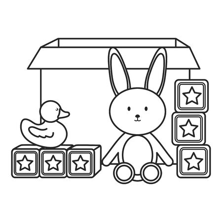 carton box with toys icons vector illustration design