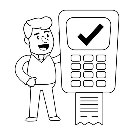 Consumer banking operations happy jovial smiling holding dataphone client black and white vector illustration graphic design