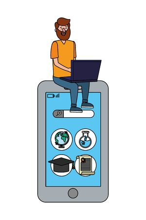 online education man with laptop cartoon vector illustration graphic design