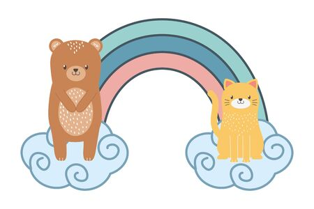 Bear and cat cartoon design, Animal cute zoo life nature and fauna theme Vector illustration