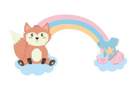 baby shower symbol and fox design  イラスト・ベクター素材