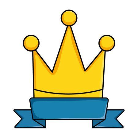 crown queen with ribbon pop art style Illusztráció