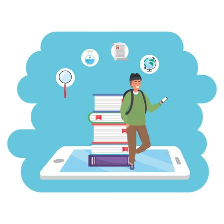 Online education millennial student wearing beanie and backpack tablet and book stack background young person career search splash frame vector illustration graphic design