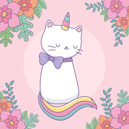 cute caticorn with floral decoration vector illustration design