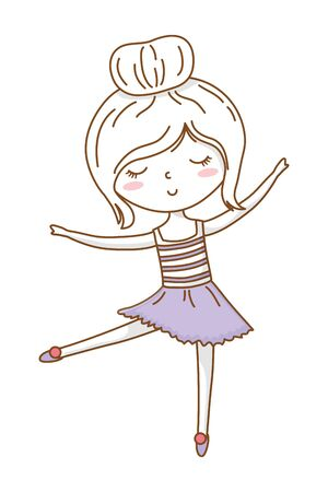 Cute girl cartoon stylish hairstyle nice outfit clothes blushing skirt dancing isolated vector illustration graphic design Иллюстрация