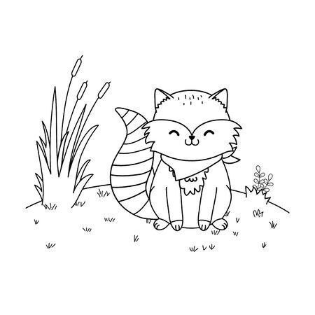 cute raccoon in the field woodland character vector illustration design Foto de archivo - 129913081