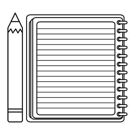 notebook school supply with pencil Vektorové ilustrace