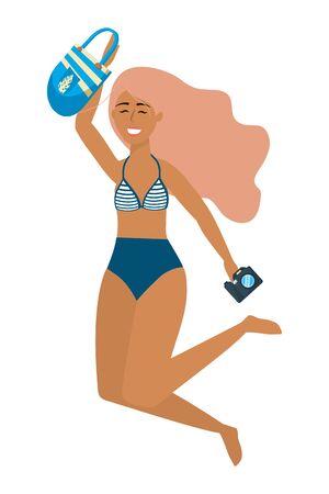 Girl with swim wear design, Bikini woman summer female and beach theme Vector illustration