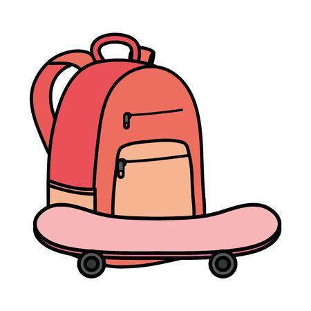 skateboard sport with schoolbag icons vector illustration design Illusztráció