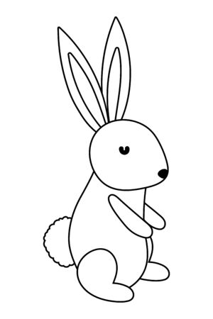 Rabbit cartoon design, Animal cute zoo life nature and fauna theme Vector illustration Illusztráció