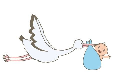 stork flying with cute baby boy in bag Standard-Bild - 130006555