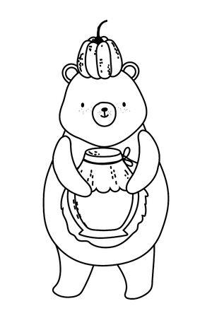 Isolated bear cartoon in autumn season vector design
