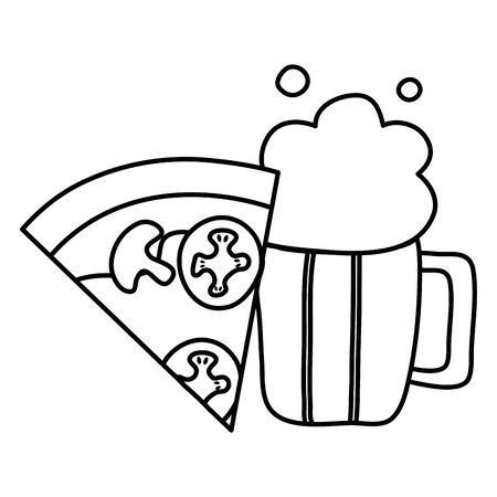 delicious italian pizza with beer glass Stock Illustratie