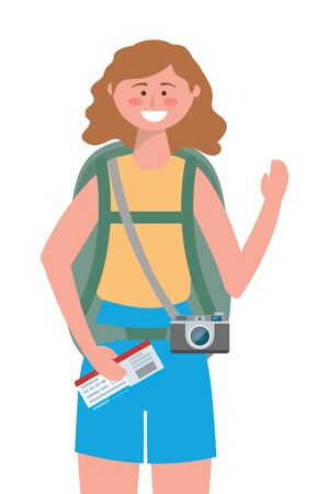 Tourist girl cartoon design, Travel trip vacation tourism and journey theme Vector illustration