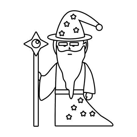 Isolated medieval and fantasy magician design vector illustration Ilustração