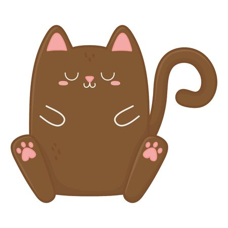 Cat cartoon design, Kawaii expression cute character funny and emoticon theme Vector illustration Vettoriali