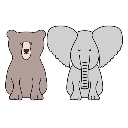 cute grizzly bear and elephant