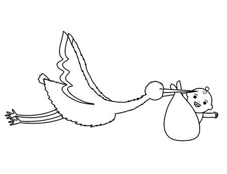 stork flying with cute baby boy in bag Standard-Bild - 130013972