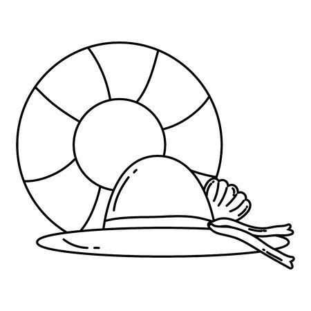Summer float and hat vector design Stock Illustratie