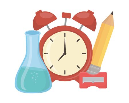 Clock and school supplies design  イラスト・ベクター素材