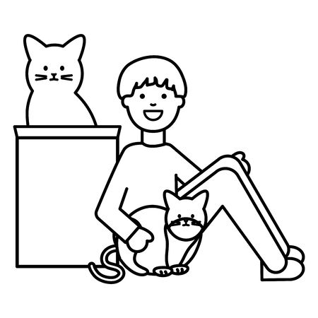 young man with cute cats mascots