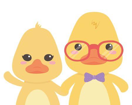 Couple of ducks cartoons design Illusztráció