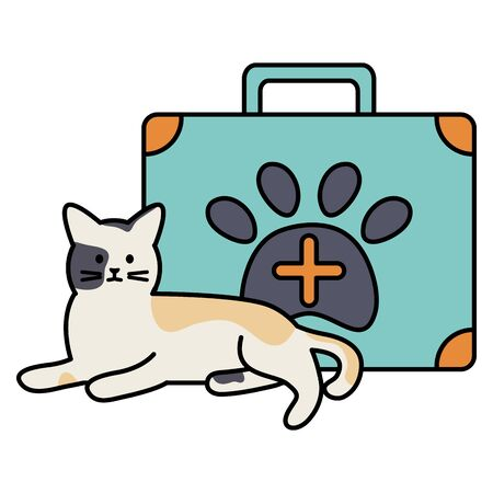 cute cat mascot with medical kit