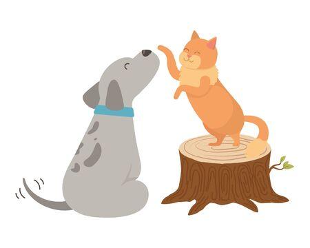 Cat and dog cartoon design Illusztráció